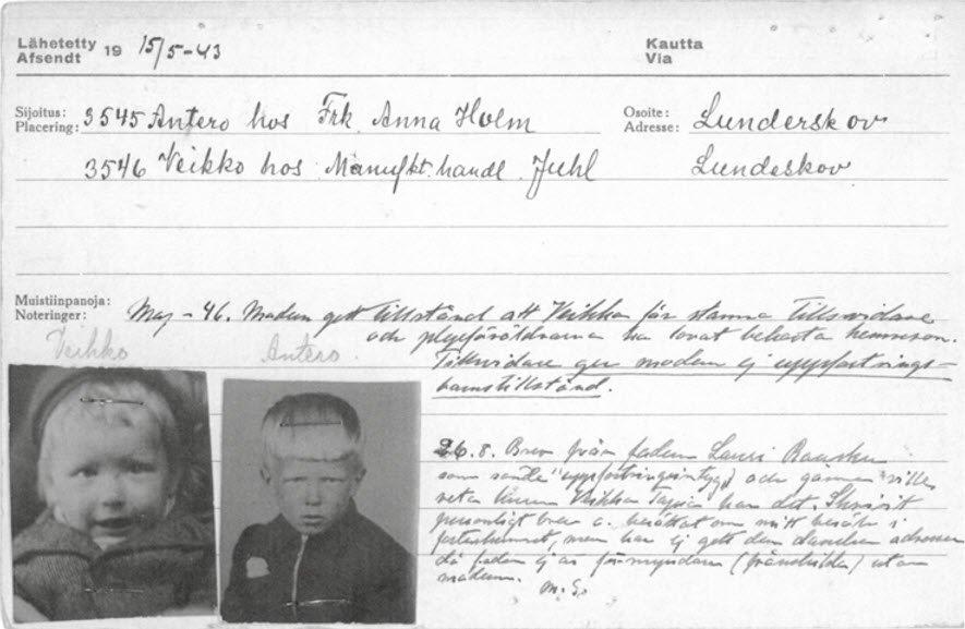 De to finske brødre holdt sammen, selv om de kom til hver deres familie i Lunderskov. Broderen Antero kom senere hjem til Finland, mens Tapio blev i Danmark. Da han blev voksen, flyttede Antero til Danmark. Foto fra bogen.