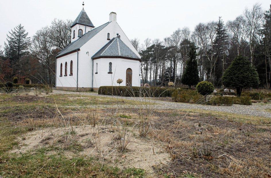 Børsmose Kirke som ligger midt i det millitære øvelses område ved Oksbøl redag den 9. februar 2018. Bestilt opgave for kristelig Dagblad