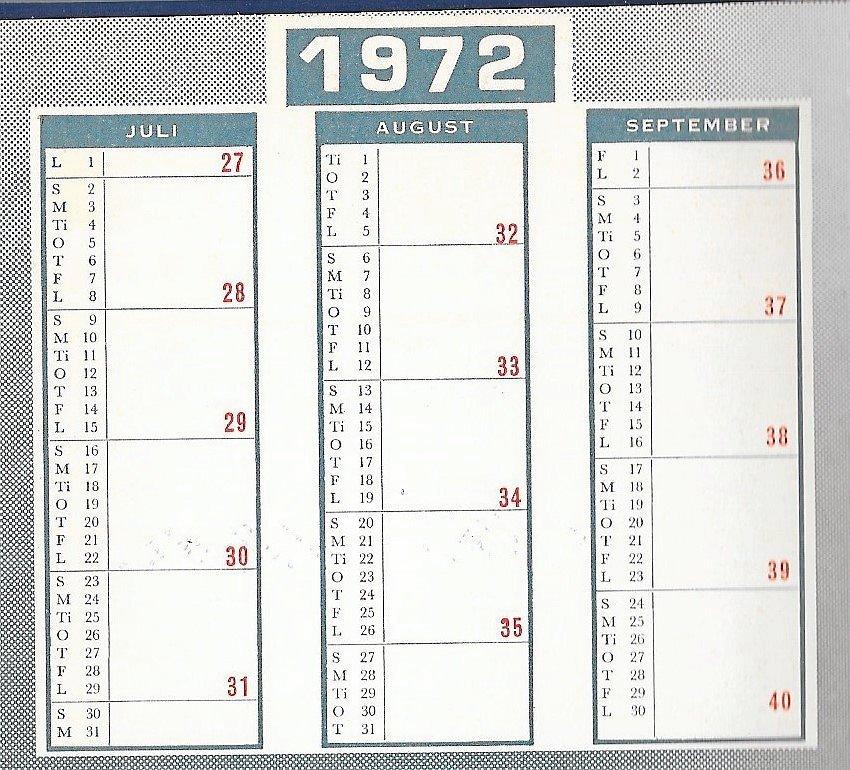 Kalenderoversigter fra årene 1972 og 1973. I 1972 går ugerne fra søndag til lørdag, men i 1973 inddeles de fra mandag til søndag. – Privatfoto.
