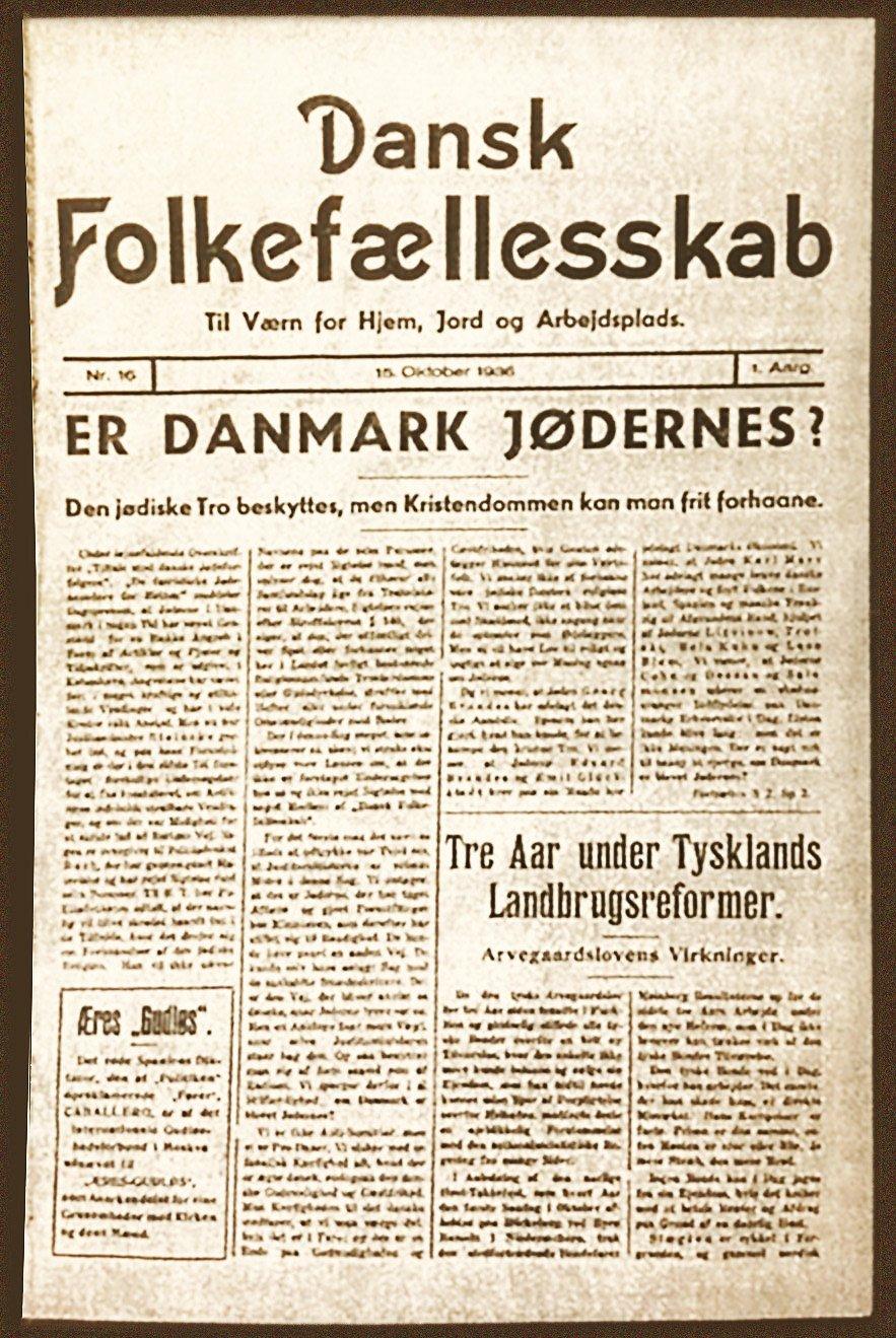 Forsiden af Mallings antisemitiske blad Dansk Folkefællesskab fra den 15. oktober 1936.
