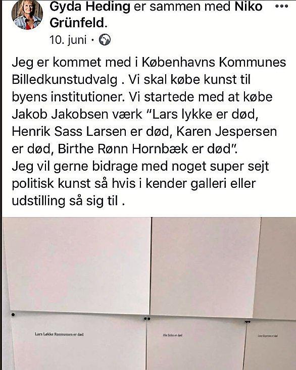 Sådan skrev Gyda Heding (Ø), medlem af Beskæftigelses- og Integrationsudvalget i Københavns Kommune, for nylig om det nye og omdiskuterede kunstværk i et opslag på Facebook.