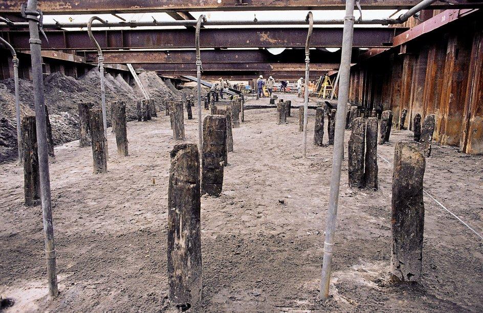 Der er i årenes løb foretaget mange arkæologiske udgravninger ved Hedeby, her ses udgravningen af rækker af pæle fra datidens havneanlæg. – Foto: