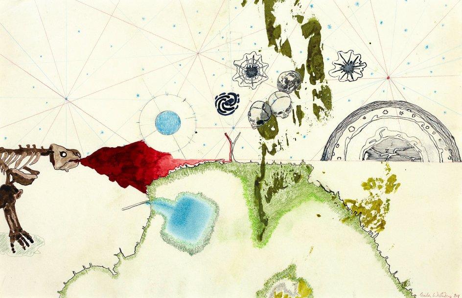 """Udstillingen """"Alkymistens laboratorium"""" er skabt af Cecilia Westerberg, der ved siden af sit kunstneriske virke i mange år har været tilknyttet Statens Museum for Kunst som underviser af børn. Hendes vision med udstillingen er netop at skabe en sansemæssigt æggende og forundringsvækkende oplevelse for børn og voksne. Her er det """"Atlas I""""."""