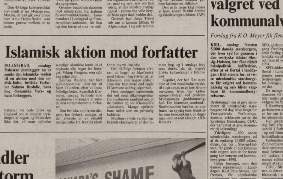 Sådan skrev Kristeligt Dagblad et par dage efter, at fatwaen var blevet udstedt.