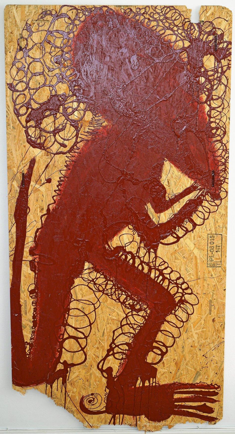 """Frederik Næblerød (født 1988) blev færdig på kunstakademiet sidste år, men er allerede én af de danske kunstnere, der sælger godt, lyder det fra eksperter. Her ses Næblerøds """"Predator"""" (kødæder), autolak på MDF-træplade fra 2018. –"""