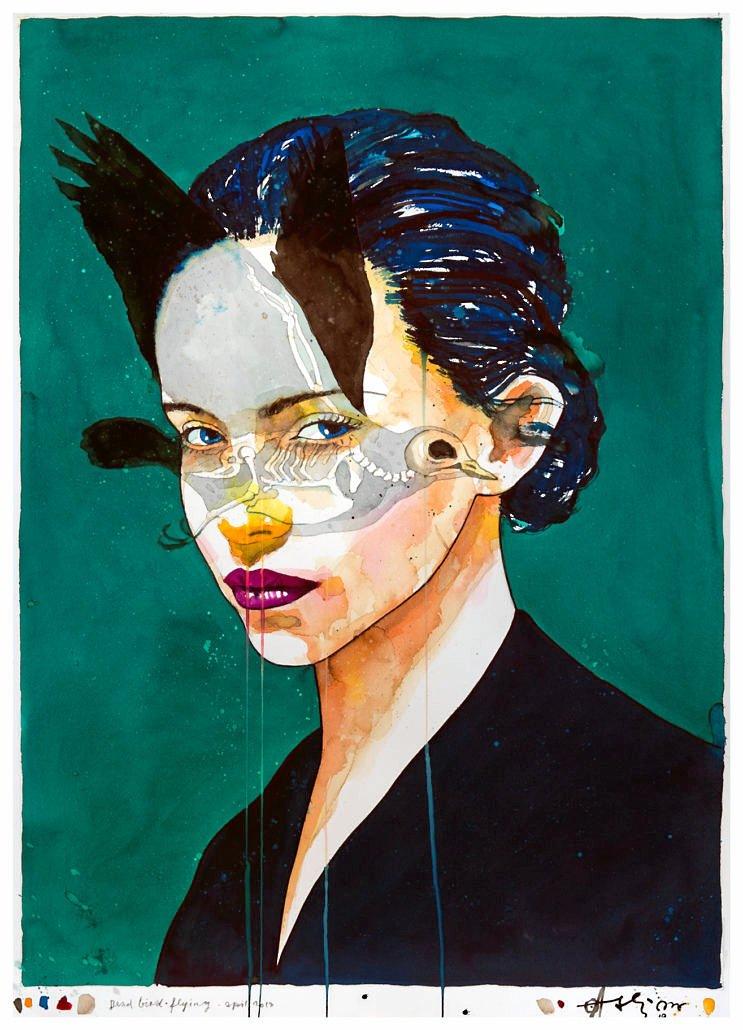 """Ole Aakjær er én af de danske kunstnere, der sælger godt, mener gallerist Thorkild NB Nielsen. Her er det portrættet """"Dead bird flying"""", akvarel på håndlavet papir fra 2018. –"""