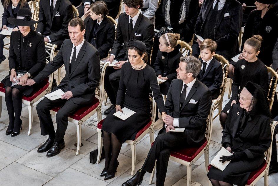 Fra venstre Prinsesse Marie, Prins Joachim, Kronprinsesse Mary, Kronprins Frederik og Dronning Margrethe under Prins Henriks bisættelse fra Christiansborg Slotskirke i København, tirsdag den 20. februar 2018. Prins Henrik døde tirsdag den 13. februar 2018.. (Foto: Mads Claus Rasmussen/Scanpix 2018)