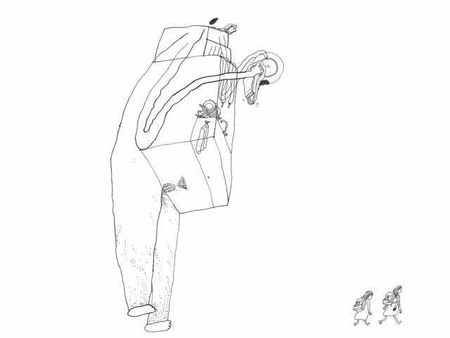 """Fra kunstbogen """"Grøde"""" af Signe Parkins, Forlaget Uro, 2019  @Billedtekst:0Signe Parkins. Født 1979. Billedkunstner og illustrator. Udgav sin tegnede dagbog """"Signe Parkins & drawings """" i 2005. Nu aktuel med kunstbogen """"Grøde"""". Vinder af tegneserieprisen Pingprisen """"Årets bedste tegneserie"""" i 2018 for udgivelsen """"Tusindfryd."""""""