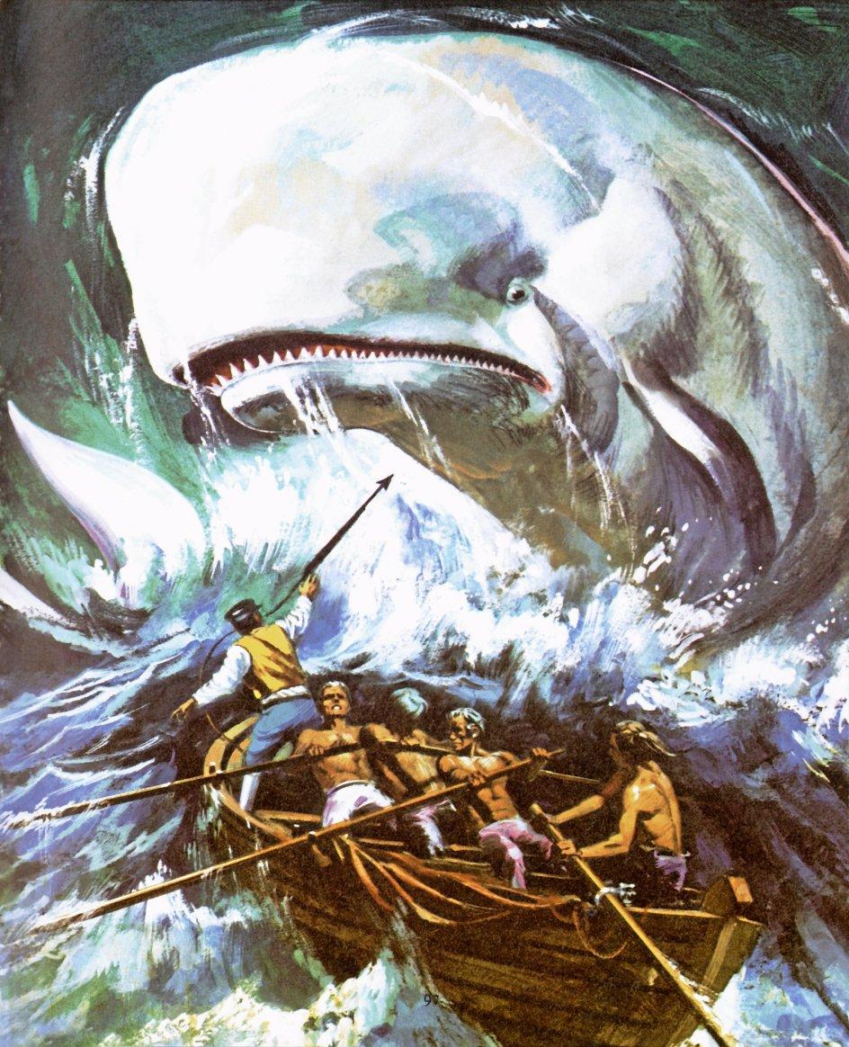 """Herman Melvilles """"Moby Dick"""" taler som enhver klassiker til alle epoker, men lige nu synes den at resonere særlig intensivt med vores samtid på grund af dens profetiske forudanelser om klimakatastrofer og dyrearters udryddelse samt dens optagethed af forholdet mellem menneske, natur og teknologi. –"""