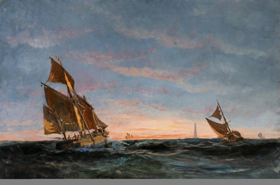 """At Drachmanns maleri har holdt, og at det har holdt betydeligt bedre end mange andre Skagensmaleres, er uomtvisteligt. Her er det kunstnerens """"Kuttere ud for Skagen"""", uden årstal. –"""