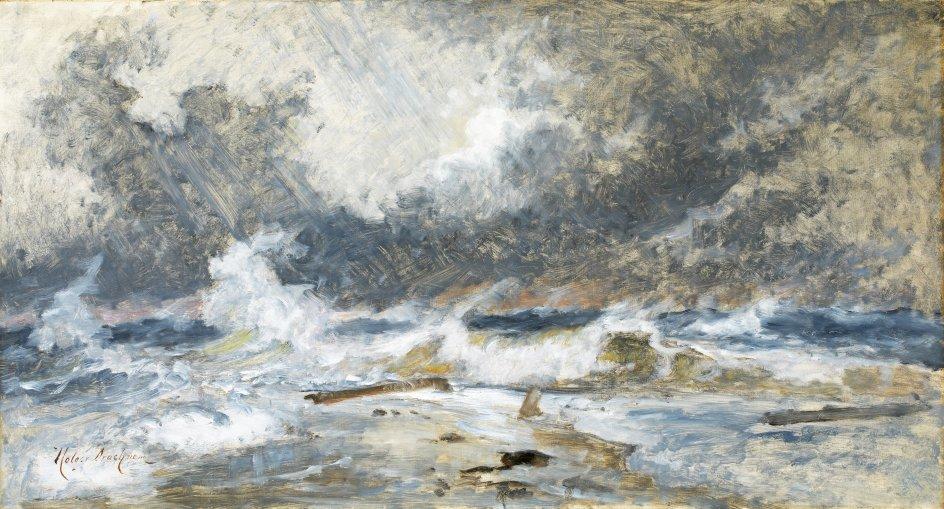 """Holger Drachmanns mesterlige signaturværk """"Havet i oprør. Skagens Gren"""" fra 1907. –"""
