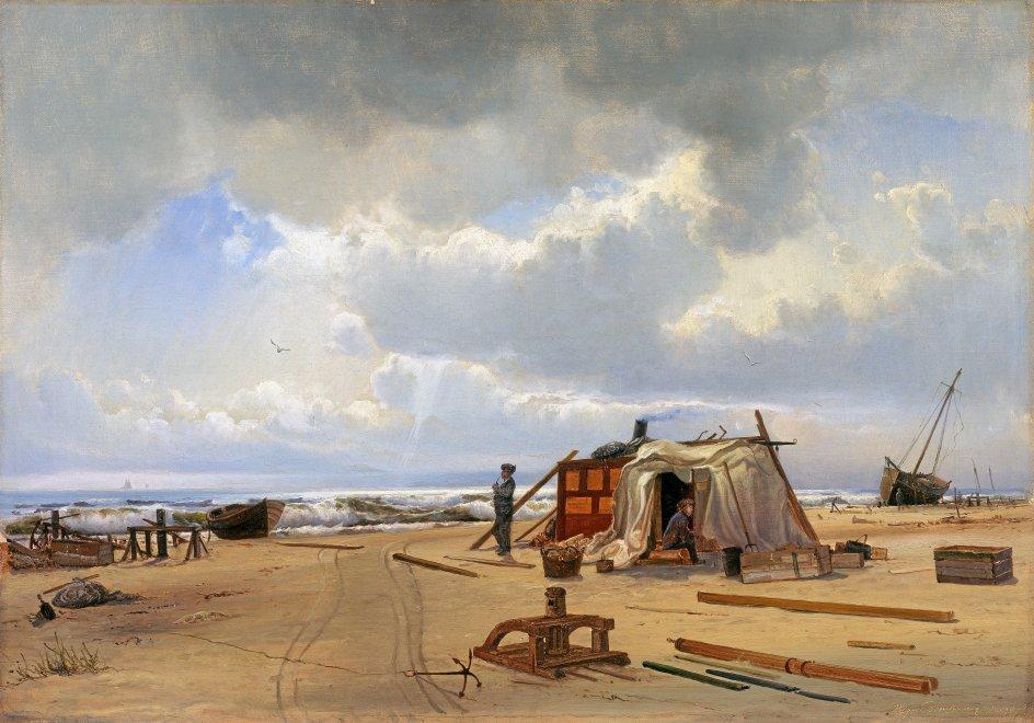 """Et tema på udstillingen udgøres af strandinger og vrag, hvor det igen er havets utæmmelige, destruktive kræfter, der fremstilles. Her er det """"En vraghytte på Skagen strand"""" fra 1872. –"""
