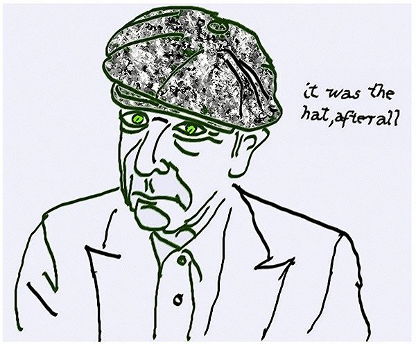 Leonard Cohen kunne også male. Her er et selvportræt fra 2007, som blev til i et selvportrætprojekt for Musée d'art contemporain de Montréal. –