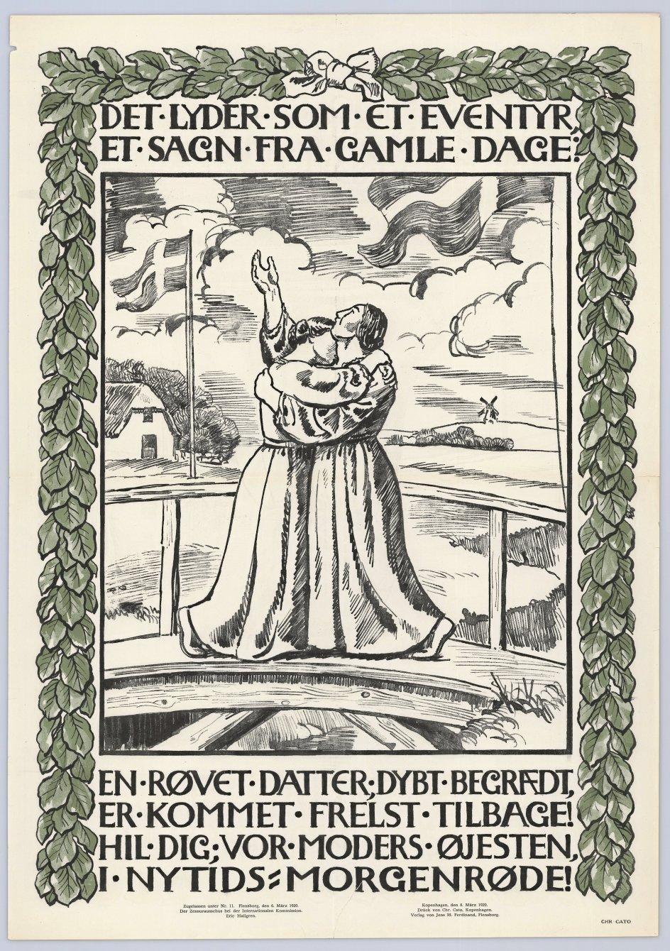 Denne plakat fra 1920 fremstiller Danmark som moder og Sønderjylland som datter, ledsaget af de to første og den sidste linje af Henrik Pontoppidans digt om genforeningen. - Foto: Det Kongelige Biblioteks Billedsamling.