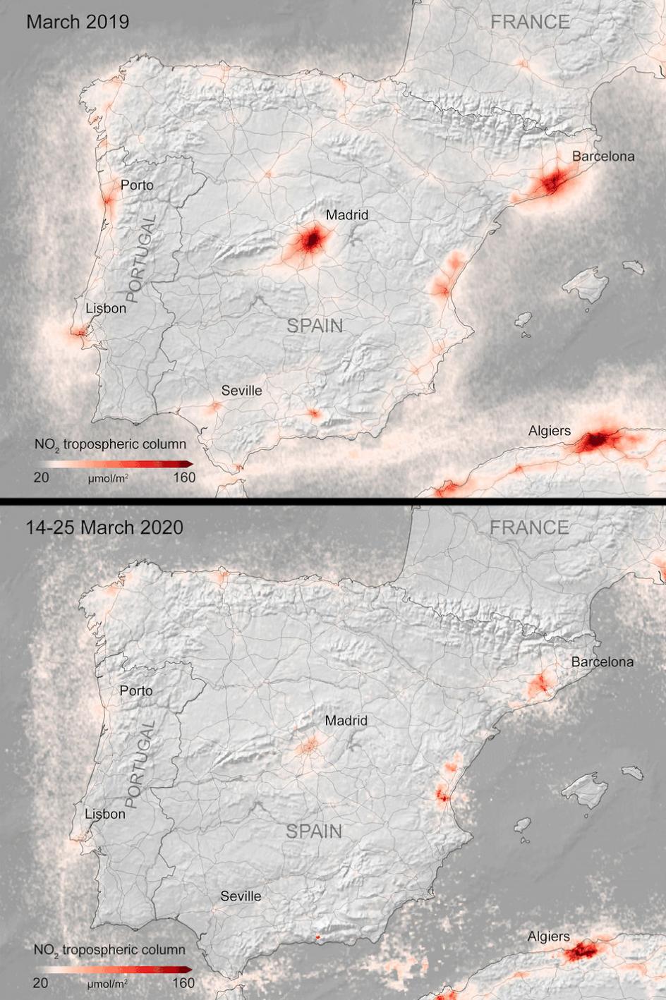 Her ses koncentrationen af kvælstofdioxid i atomsfæren i Spanien og Portugal fra begyndelsen af marts (øverst) til denne uge (nederst).