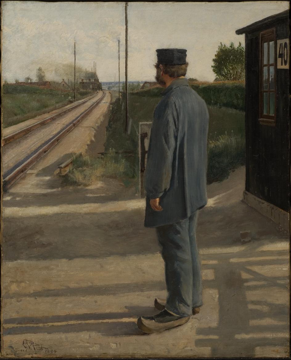 """I L.A. Rings """"Banevogteren. Landsbyen Ring"""", 1884, olie på lærred, åbner L.A. Ring for én livsverden og lader den krydse af en anden. Den statiske verden, som banevogteren repræsenterer, og den dynamiske verden, som toget, skinnerne og telegrafmasterne visualiserer."""