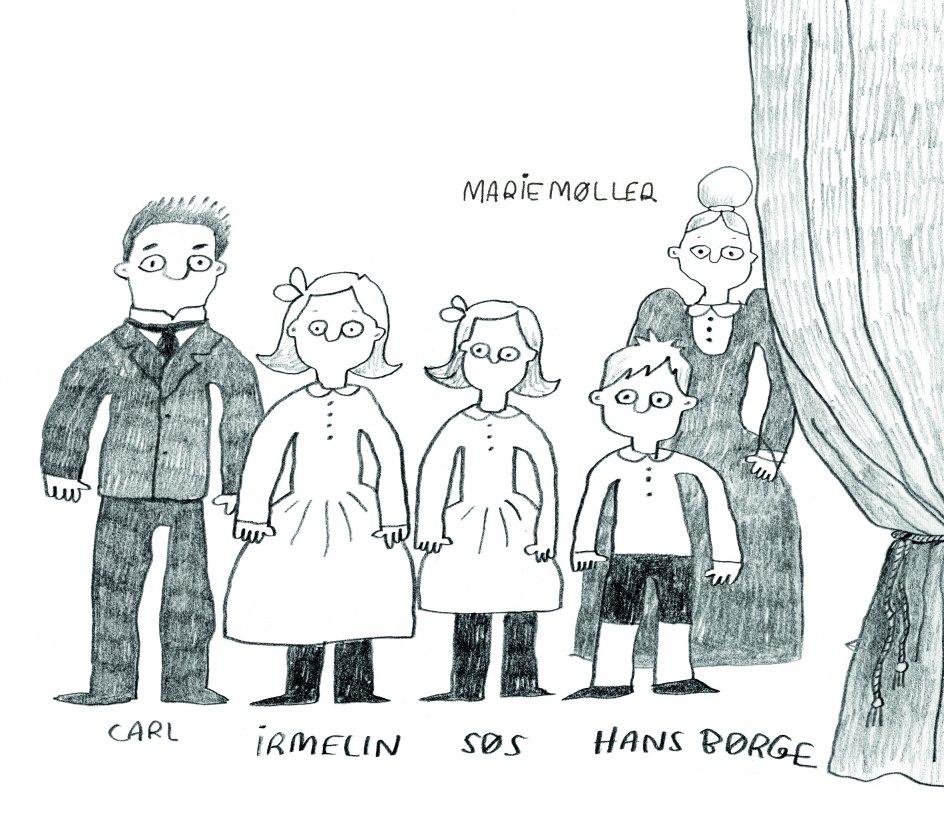 Illustration af Carl Nielsen med parrets tre børn. Marie Møller var Anne Marie Carl-Nielsens veninde, der hjalp til i hjemmet, mens billedhuggeren arbejdede i Athen.