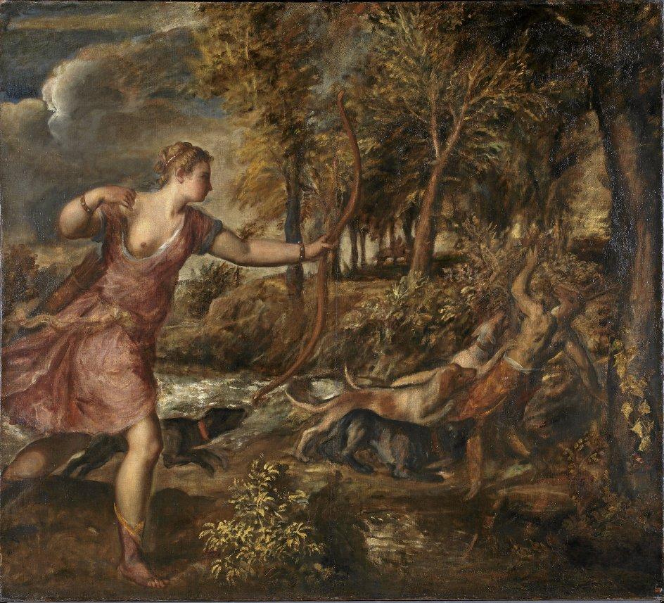 """""""Aktaions død"""" er det syvende og sidste værk i Tizian poetiske serie. Det nåede aldrig at blive en del af den kongelige samling i Madrid og er nu for første gang forenet med de seks oprindelige malerier. – Foto: National Gallery"""