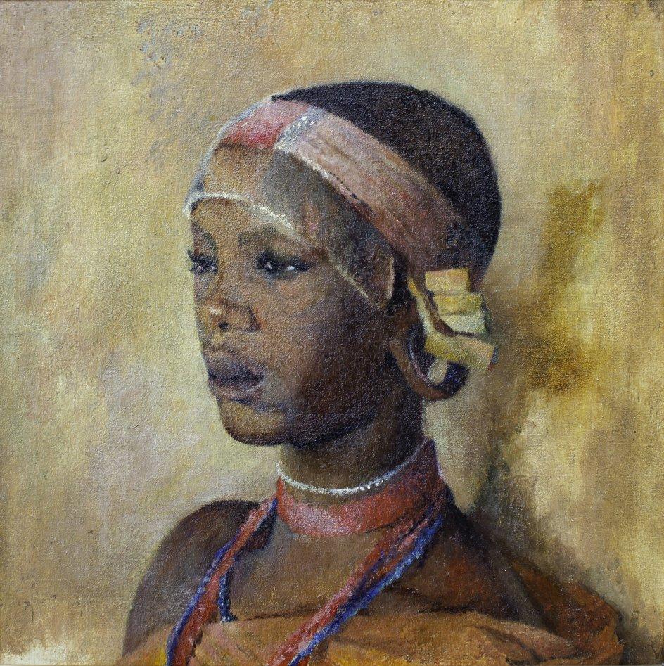 Karen Blixen var ikke selv tilfreds med dette maleri af en ung kikuyu-kvinde, som hun malede på sin afrikanske farm. – Foto: Karen Blixen Museum Rungstedlund.