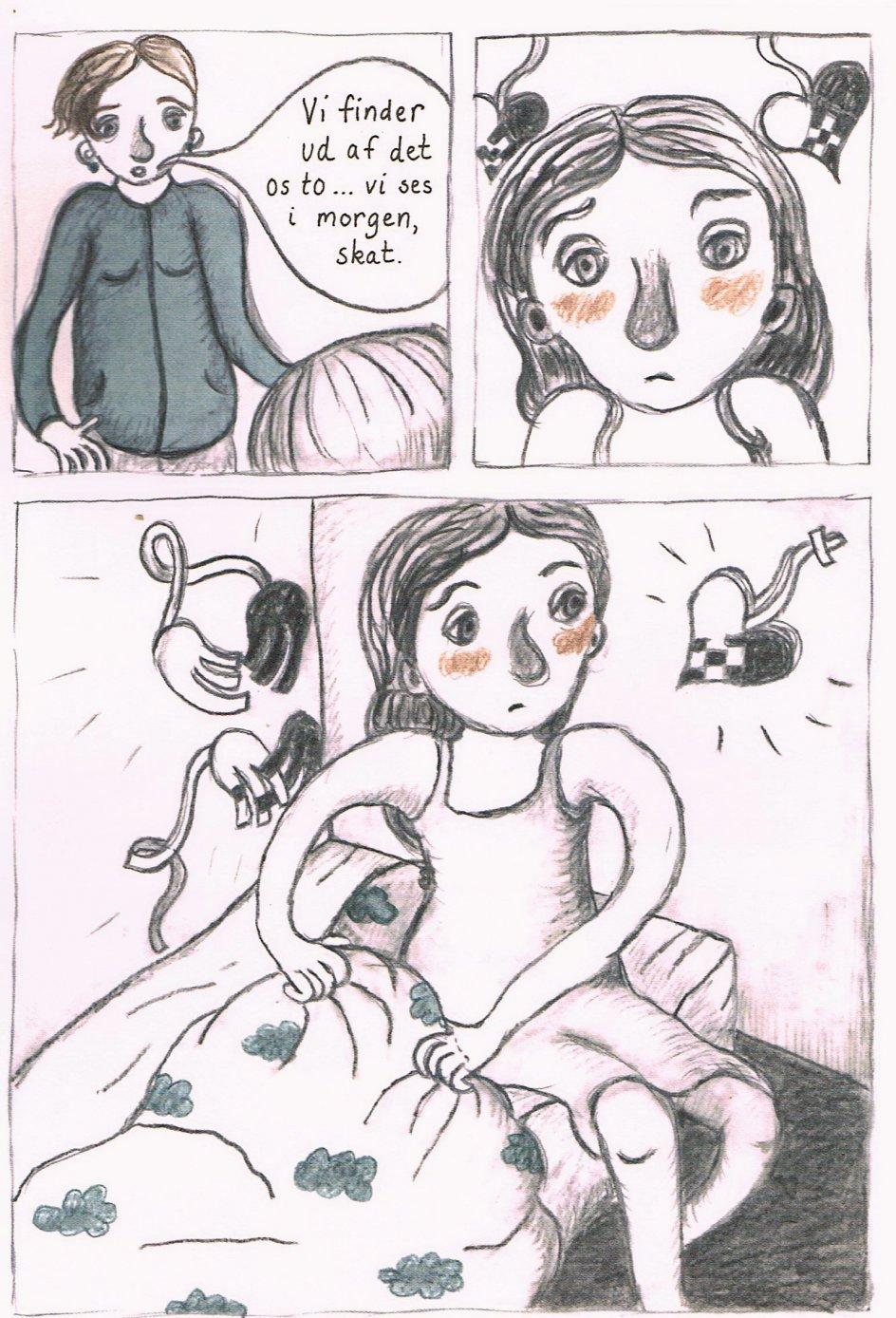 Vera sidder bedrøvet i sin seng, mens julehjerterne bag hende går i stykker og glider fra hinanden. Stine Illums tegninger er bløde i stregen, men skarpe i skildringen af Veras indre liv. – Foto fra bogen.