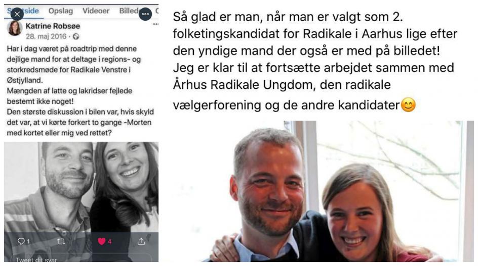"""Det radikale folketingsmedlem Katrine Robsøe (R), som oplyser, at hun i 2015 blev """"seksuelt krænket"""" af nu tidligere politisk leder Morten Østergaard (R), har delt flere billeder med hende og Morten Østergaard, som hun blandt andet beskriver som """"yndig"""" og """"dejlig"""""""