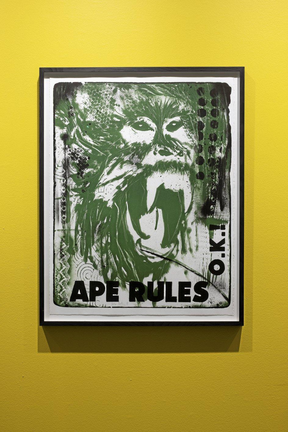 """Claus Carstensens litografi """"Ape Rules"""" fra 2018 er skabt som en reaktion på en undersøgelse, der viste færingers skepsis over for Darwin. – Foto: Torben Eskerod/Nordatlantens Brygge."""