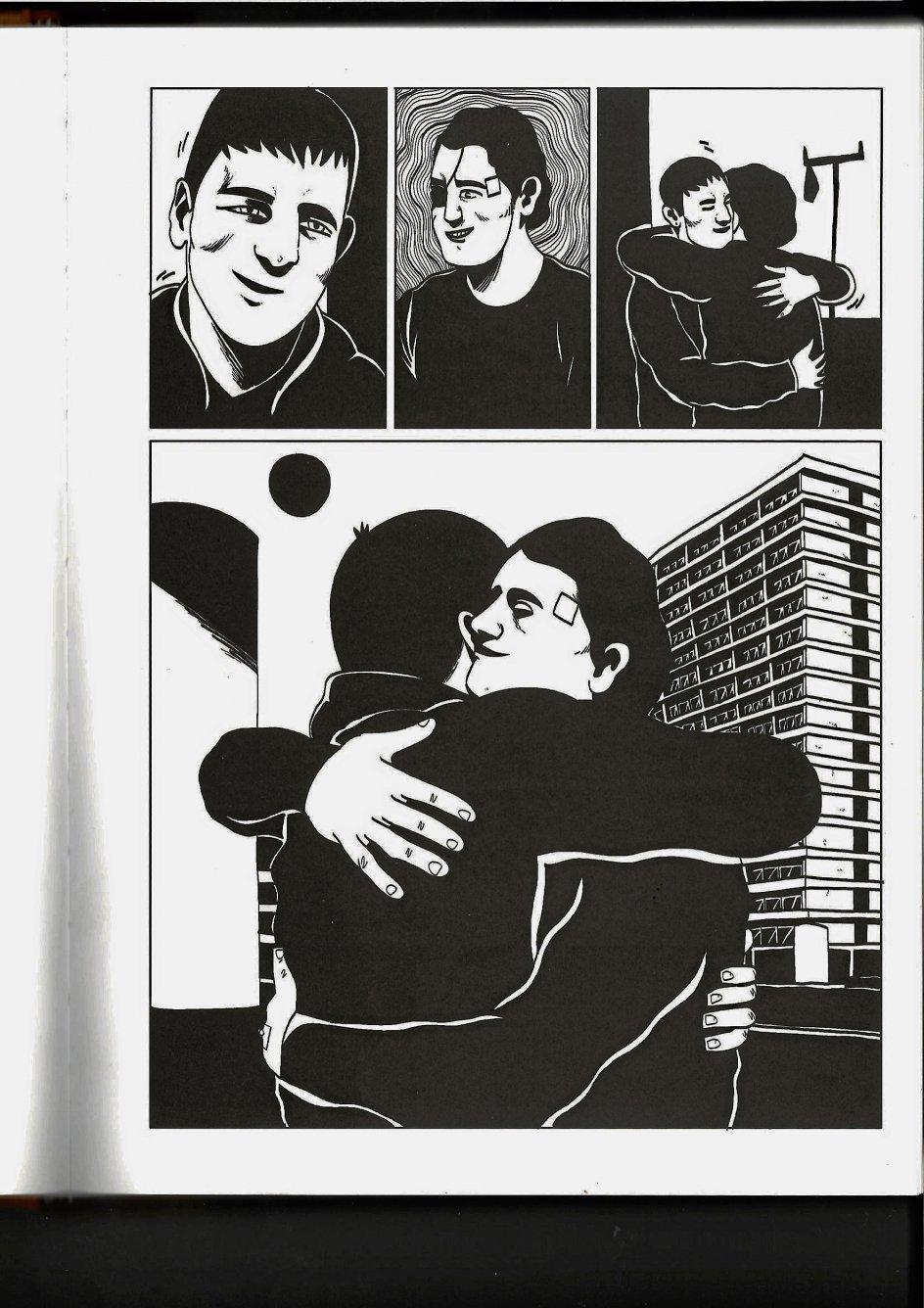 """I tegneserien """"Døden"""" skal de to venner Rafil og Yusuf acceptere, at den ene er dødssyg. Det er nemmere for den syge end for den raske. – Illustration: Fra """"Døden"""" af Halfdan Pisket"""
