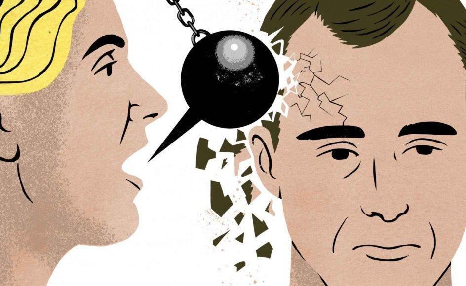 Et parforhold bør have en lige magtfordeling – og når balancen er tippet i den enes favør, og den anden indordner sig, er forholdet blevet dysfunktionelt. Illustration: Rasmus Juul.
