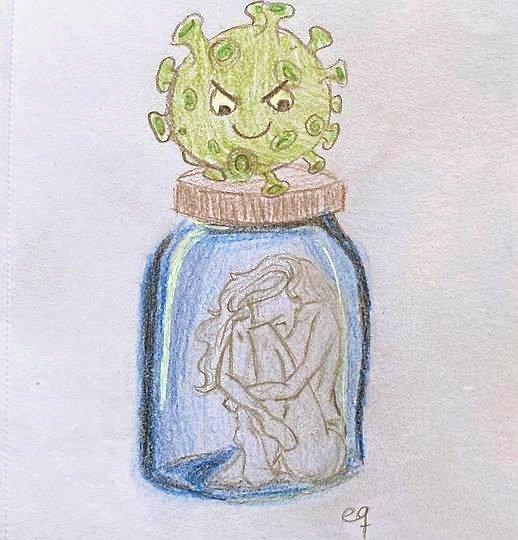 """En 14-årig pige sendte forleden denne tegning til Susanne Mathiesen fra Headspace. Her forsøger pigen at give udtryk for, hvordan hun har det med fjernundervisningen. """"Så det eneste, jeg kan gøre, er at sidde herhjemme og gøre ingenting. Imens jeg venter,"""" skrev pigen."""