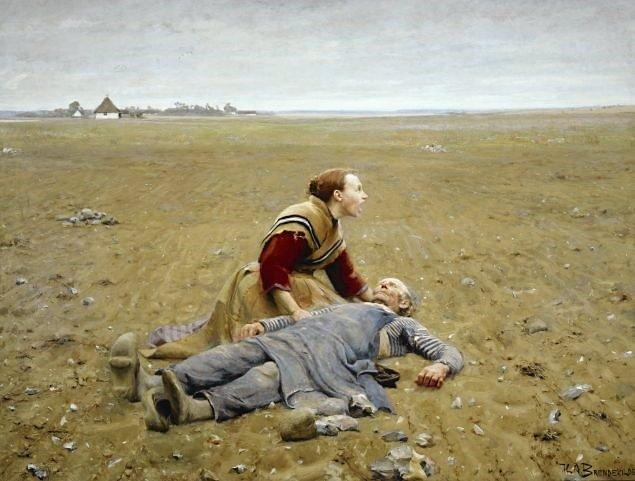 """Mennesker var vant til et højt lidelsestryk i gamle dage. Men det betyder ikke, at de slap for smerten ved at miste, siger professor Anne Løkke. Her H.A. Brendekildes maleri, """"Udslidt"""", fra 1889. – Foto: Wikimedia Commons."""