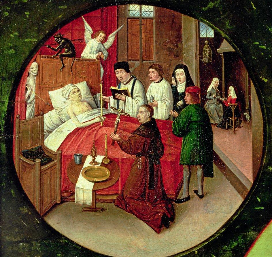 """I 1500-tallet i Danmark var døden offentlig, og en sjælesørger var en afgørende person i en stramt koreograferet dødsproces. Uddrag af Hieronymus Boschs """"De syv dødssynder og de fire sidste ting"""", 1485. – Foto: Hieronymus (1450-1516) Bosch/Bridgeman Art Library/Ritzau Scanpix."""