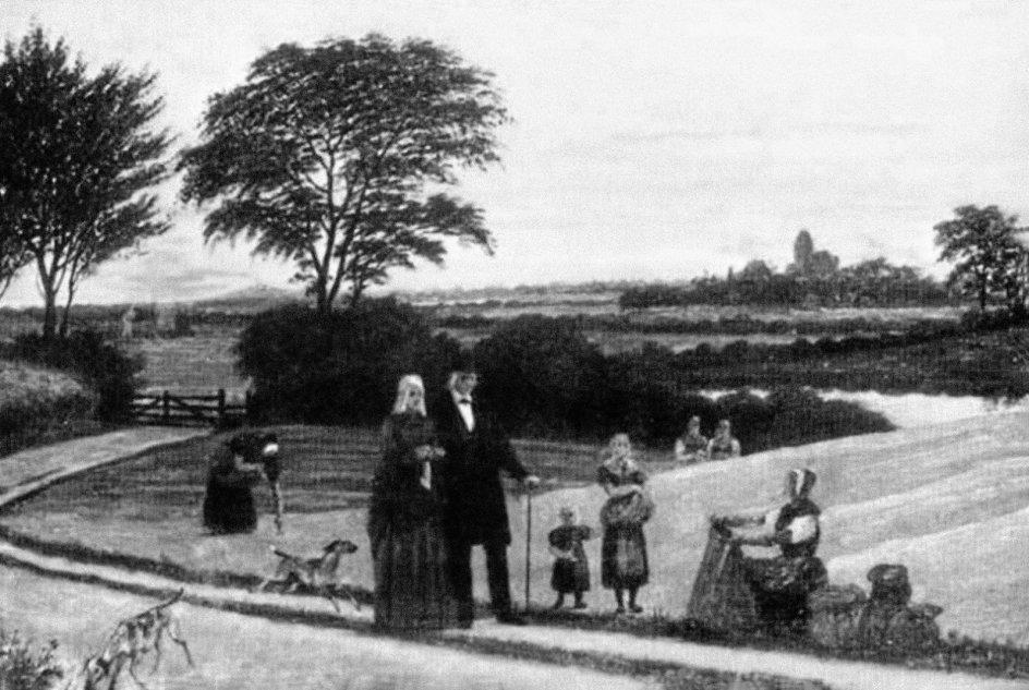 Præsteparret Ulrich Adolph og Christine Plesner fra Humble på Langeland med børn og hund. De er afbilledet ved præstegårdens landsbrugsareal, der i første halvdel af 1800-tallet blandt andet omfattede kartoffelavl. Litografi af Gustav Theodor Wegner 1857. – Foto fra bogen.