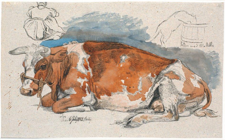 """""""Liggende ko. Foroven til venstre en siddende bondepige, t.h. en kat drikkende af en mælkebøtte"""". Tegning af Johan Thomas Lundbye, 1843. – Foto: Statens Museum for Kunst."""