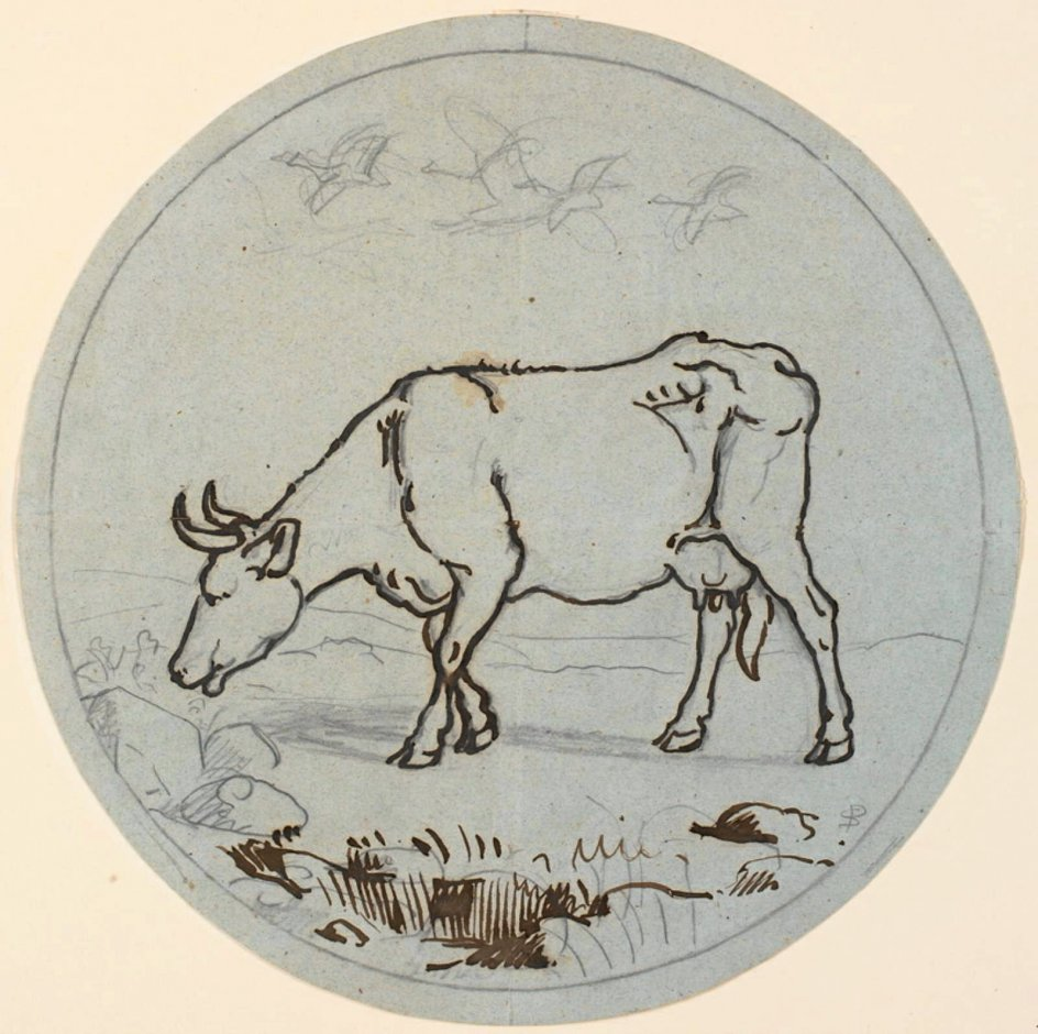 """Koens anatomi har gjort den til et yndet motiv i kunsten, som på """"Græssende ko. Dekorativt udkast"""" af P.C. Skovgaard (1817-1875).  – Foto: Statens Museum for Kunst."""
