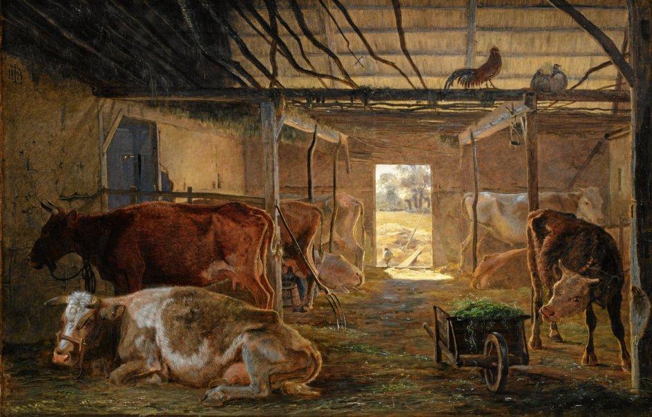 """Forfatter Anton Raundahl har hele livet elsket miljøet i en kostald. Før ham har en række malere opholdt sig der for at indfange stemningen, blandt andre maleren Johan Thomas Lundbye. Her ses hans """"En kostald i en bondegård. Vejby"""" fra 1844. – Foto: Statens Museum for Kunst."""