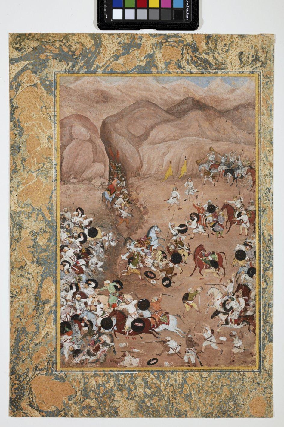 Én af de miniaturer, der viser, hvordan våbnene er blevet brugt i store slag. Her vises, hvordan den indiske hinduhersker Bikramijt og hans hær (til højre) overvinder den afghanske Darya Khan Rohilla (til venstre). Miniaturen er fra midt i 1600-tallet. – Foto: Pernille Klemp/Davids Samling.