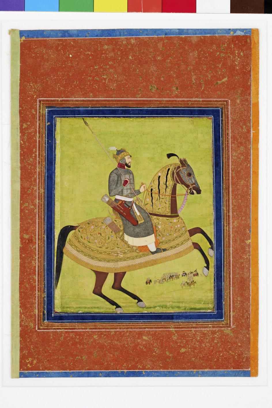 Den indiske prins Azam Shah til hest, i fuld udrustning. Buen er et særligt brugt islamisk våben, og prinsen er da også klar til kamp med sit pilekogger. – Foto: Pernille Klemp/Davids Samling.