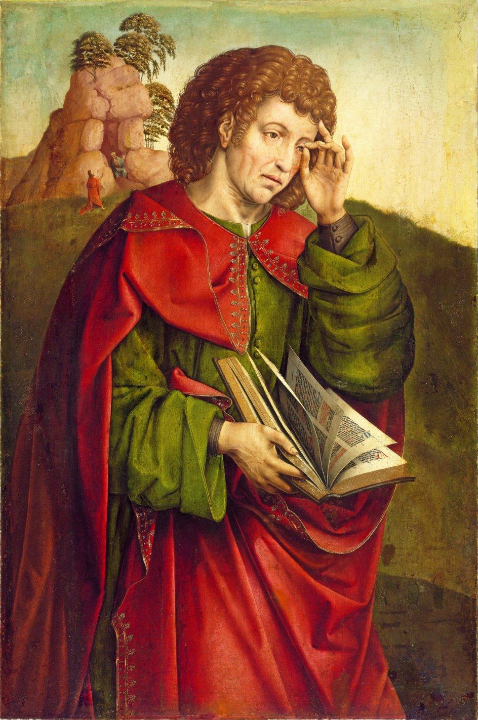 Her ses evangelisten Johannes grædende. Han er portrætteret af den nederlandske kunstner Colijn de Coter.  Foto: Ritzau Scanpix.
