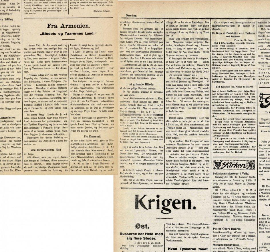 Lige fra Kristeligt Dagblads første udgivelsesdag den 1. oktober 1896 omtalte avisen armeniernes forfærdelige forhold i Det Osmanniske Rige. Avisens overskrifter var knap så kontante og direkte, som vi i dag er vant til, og billeder var et særsyn.