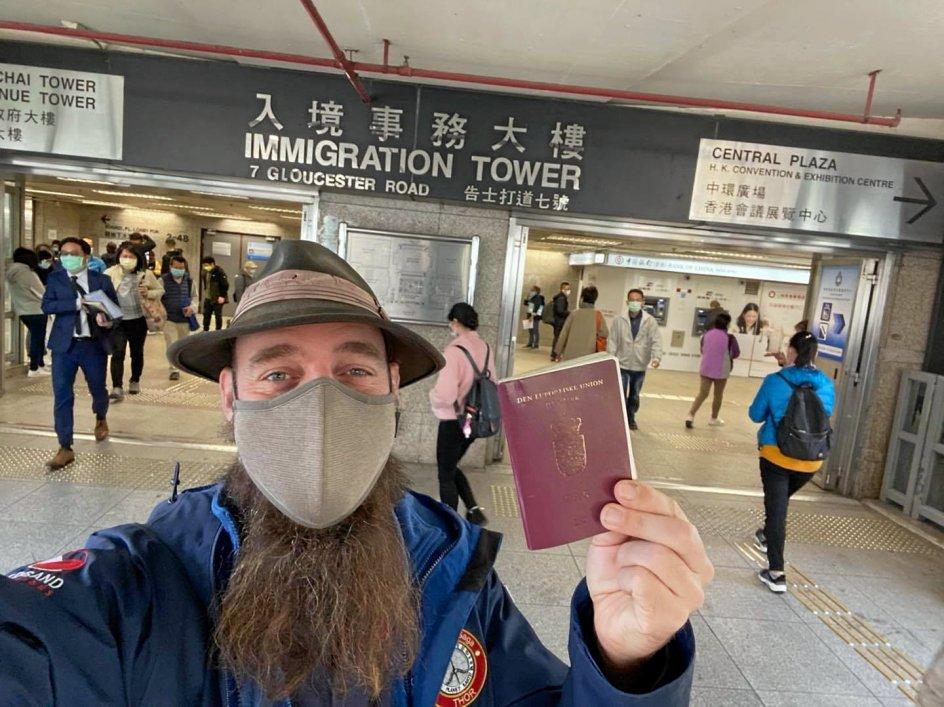 Torbjørn Pedersen har fået arbejdsvisum i Hong Kong, hvor han venter på at kunne rejse videre. – Privatfoto.