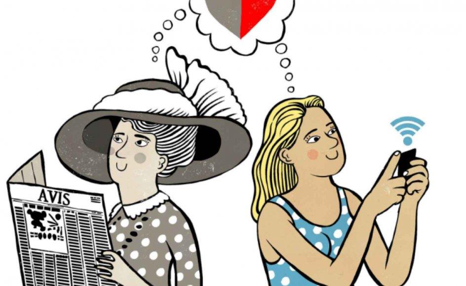 Der er næsten ingen traditioner og sociale strukturer tilbage, der fortæller os, hvordan vi finder kærligheden. Tegning: Rasmus Juul