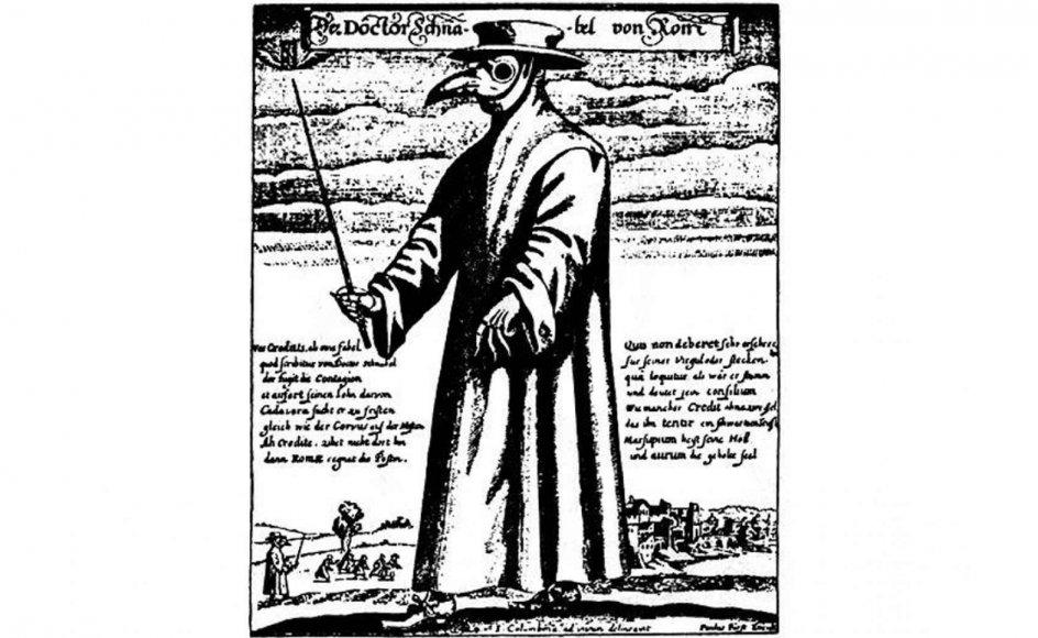 Når en romersk læge i 1600-tallet besøgte pestsyge, bar han en særlig dragt, som skulle beskytte ham mod smitte. – Foto: Wikicommons.