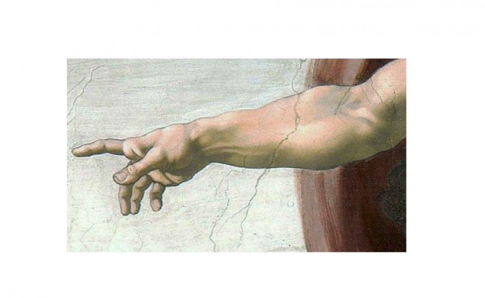 Kunsthistorien er fuld af forsøg på at skildre Gud billedligt. Fingeren er fra Michelangelos berømte fresko i Det Sixtinske Kapel i Vatikanet, hvor Gud skaber mennesket.  – Foto: Ritzau Scanpix.