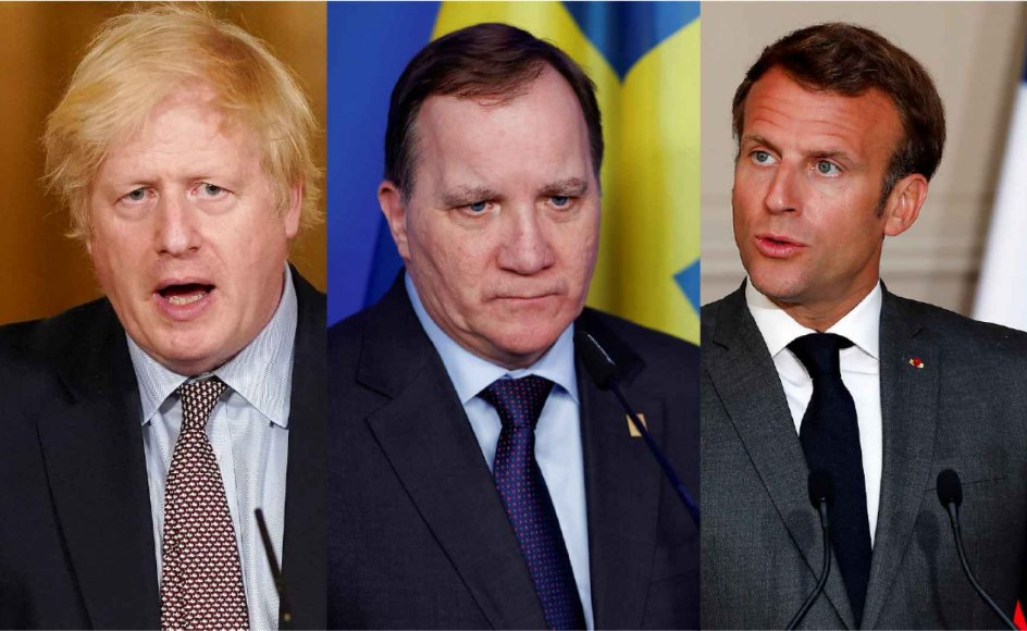 Storbritannien, Sverige og Frankrig er blandt lande, hvor borgere giver udtryk for stor utilfredshed. Her ses premiereminister Boris Johnson, Sveriges statsminister Stefan Löfven og Frankrigs præsident Macron. Andrew Parsons/Reuters/Ritzau Scanpix, Christian Hartmann/Reuters/Ritzau Scanpix og Pool/Reuters/Ritzau Scanpix