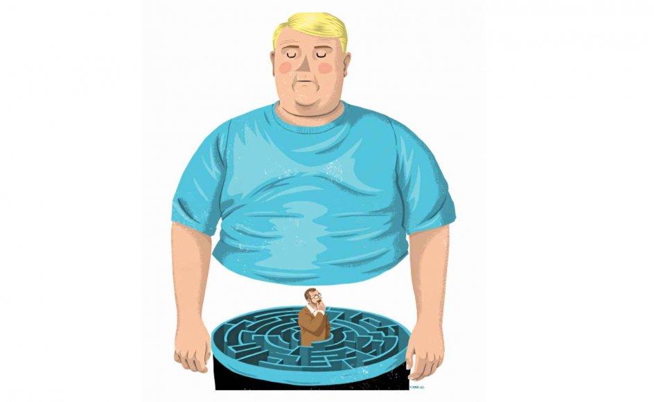 """""""Den dag i dag er de historiske stigninger i overvægt stadig en gåde, men budskabet i de simple optællinger viser, at vi skal tænke på en helt anden måde om epidemien af svær overvægt,"""" siger professor. Tegning: Rasmus Juul"""