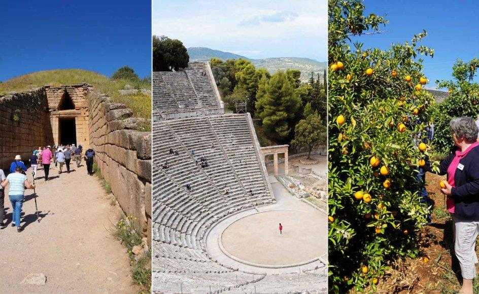 På rejsen til græske Peloponnes til oktober opleves både det nye og antikke Grækenland. Turen går til blandt andet kongegraven, appelsinplantager i Mykene, talertribunen, hvorfra apostlen Paulus talte til korinterne, et lille nonnekloster og det imponerende amfiteater i Epidauros. – Fotos: Mols Rejser.