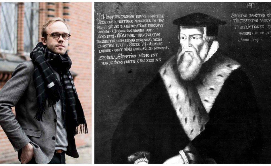 """""""Når man læser Hans Tausens tidlige skrifter, kan man se, at en del af hans teologiske synspunkter ligger tættere på Zwingli end på Luther,"""" siger kirkehistoriker Rasmus H.C. Dreyer. – Foto: Emil Kastrup Andersen."""