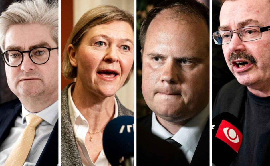Søren Pind (V), Josephine Fock (AL), Martin Henriksen (DF) og Per Clausen (EL) var blandt dem, der på sociale medier havde en kommentar til Morten Østergaards afgang og den bagvedliggende sag.