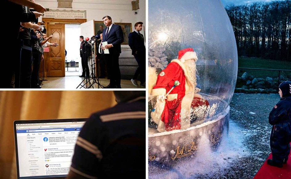 Minksagen slutter ikke med Mogens Jensen, social isolation kan føre til radikalisering, og julen rammes af coronakrisen. Billedet nederst til højre og det store til højre er arkivfotos og viser blandt andet julemanden i en coronasikker plastikboble i Aalborg Zoo.