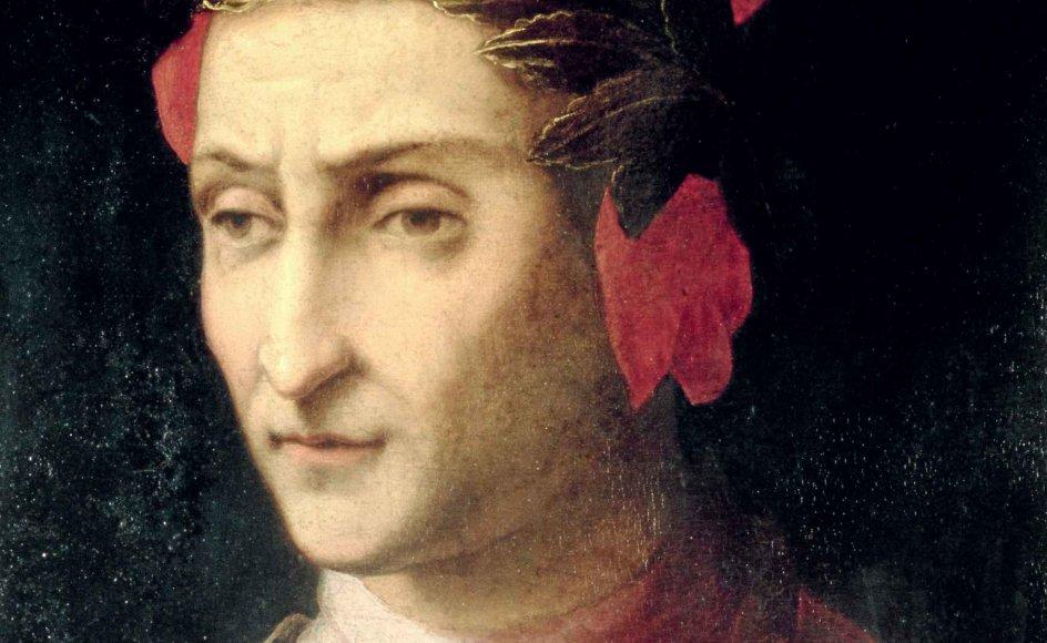 Udsnit af oliemaleri med Dante Alighieri. Det hænger på Czartoryski Museet i Krakow, Polen. -